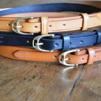 "Blenheim 1"" Bridle Leather Belt in Navy with Nickel plate buckle - Size 34"" Waist - Slight second"