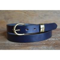 "Hurlingham Bridle Leather Belt in Navy with London 'D' brass buckle - Size 38"" Waist - perfect photograph sample"
