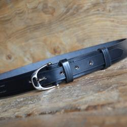 "Blenheim 1 ¼"" Bridle Leather Belt in Black with Nickel plate buckle - Size 32"" Waist - Slight second"