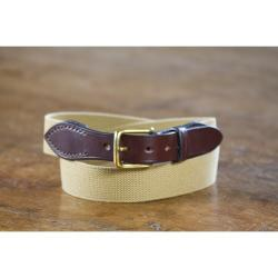 Bruton Bridle Leather Webbing Belt in Navy Bridle Leather & Red Webbing - Size 28""