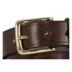 "Cropthorne West End Bridle Leather Belt in Nut & Brass - Size 44"" Waist - slight second"