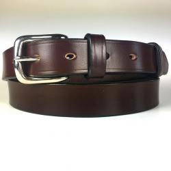"Hanbury Bridle Leather Belt in Dark Havana & Nickel plate - Size 42"" Waist - Slight second"