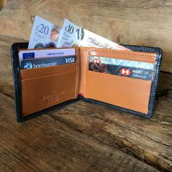 Leather Billfold in Black and London Tan