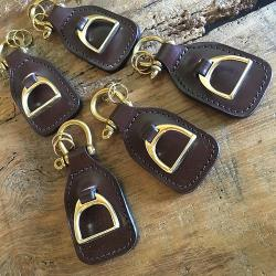 Leather Stirrup Key Fob in Bridle Leather with Solid Brass Shackle fitting
