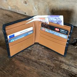 Leather Trouser Wallet in Black and London Tan