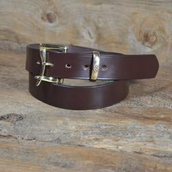 "Quick Release Bridle Leather Belt 1 1/2"" - Nut & Solid Brass - 34"" Waist - Perfect returned item"