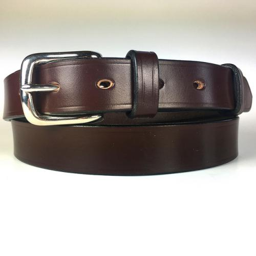 "Hanbury Bridle Leather Belt in Black & Brass - Size 42"" Waist - Slight second"